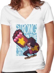 Garnet is Strong Women's Fitted V-Neck T-Shirt