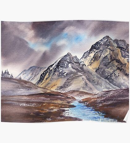 Dramatic Landscape With Mountains Poster