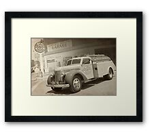 A Red Crown Truck and a Hot Cup of Coffee Framed Print