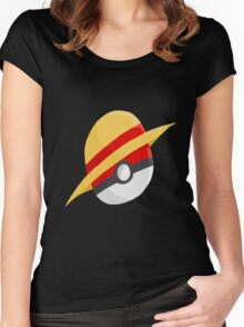 Pokeball and Luffy's hat Women's Fitted Scoop T-Shirt