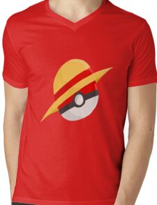 Pokeball and Luffy's hat Mens V-Neck T-Shirt