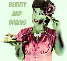 Zombie Vintage Halloween Card by HillCountryKori