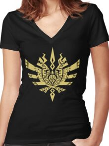 Monster Hunter 4 Logo Women's Fitted V-Neck T-Shirt