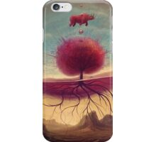 Rhino and the red tree iPhone Case/Skin