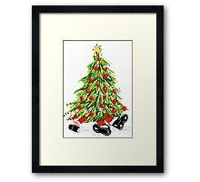 Santa Under Christmas Tree Framed Print
