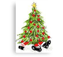 Santa Under Christmas Tree Canvas Print