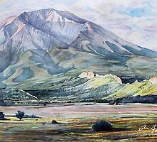 West Spanish Peak - Watercolor by Aaron Spong