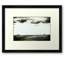 Fence, Trees and Clouds Framed Print