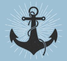 Kids Vintage Anchor Tshirt - Hand Illustrated by Walter Smietan