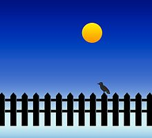 Bird On Fence [Golden Moon] by V-Art