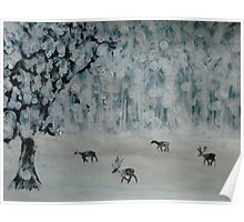 Deer in a snowy glade Poster