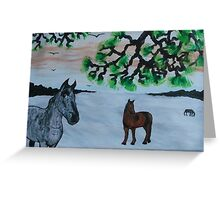 Horses in a snow covered meadow Greeting Card