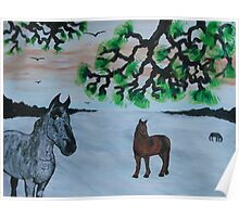 Horses in a snow covered meadow Poster