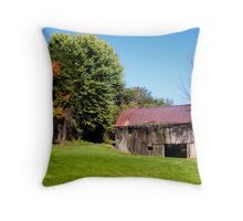 BARN WITH VINES Throw Pillow