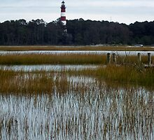 Assateague Island Light House by g richard anderson