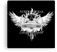 Supernatural team Free Will White Canvas Print