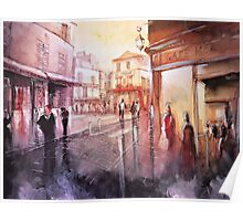 Watercolor - Sunset over Montmartre - Paris Poster