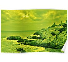 Lime Green Cliff Poster
