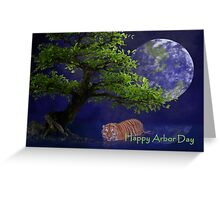 Happy Arbor Day Tiger Greeting Card
