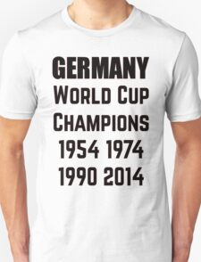 Germany World Cup Champions 1954 1974 1990 2014 T-Shirt