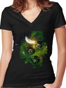 three cosmic kittens Women's Fitted V-Neck T-Shirt