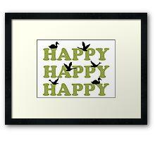 Green Digital Camo Happy Happy Happy Framed Print