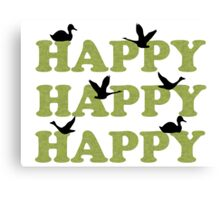 Green Digital Camo Happy Happy Happy Canvas Print