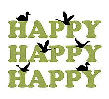 Green Digital Camo Happy Happy Happy Photographic Print
