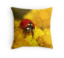 ladybug and wild flower Throw Pillow