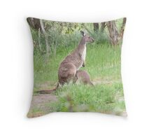 'STOP MUM I NEED A DRINK'!  Floe & her Joey. 'Arilka' Throw Pillow