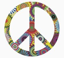 Cool Retro Flowers Peace Sign - T-Shirt and Stickers Kids Clothes