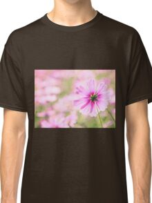 Lovely Pink Cosmos Flower Field Vintage Paper Classic T-Shirt