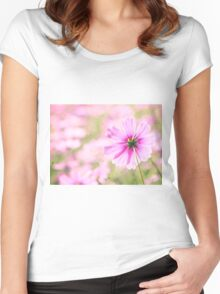 Lovely Pink Cosmos Flower Field Vintage Paper Women's Fitted Scoop T-Shirt