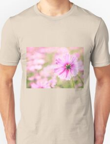 Lovely Pink Cosmos Flower Field Vintage Paper Unisex T-Shirt
