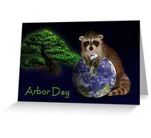 Arbor Day Raccoon Greeting Card