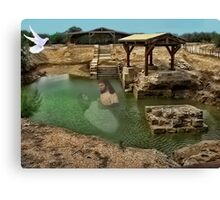 ▂ ▃ ▅ ▆ █ THE SUPPOSED LOCATION WHERE JOHN BAPTIZED JESUS CHRIST EAST OF THE RIVER JORDAN █ ▆ ▅ ▃ Canvas Print