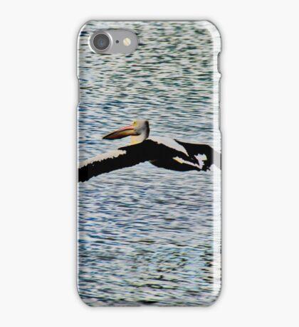 Pelican Flying Over Water iPhone Case/Skin