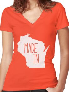 Made in Wisconsin - White Women's Fitted V-Neck T-Shirt