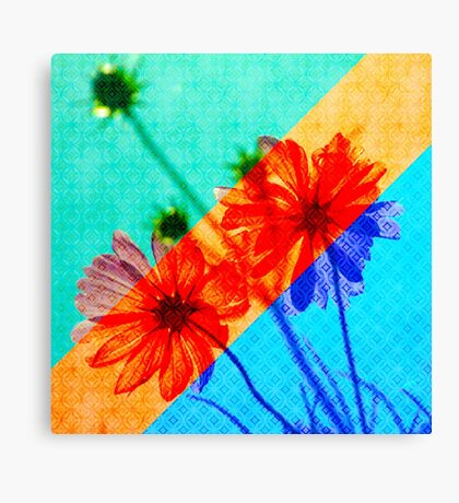 Psychedelic Collage Otherworldly Cosmos Flowers Canvas Print