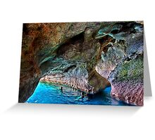 Swimming in the sea caves of Crete Greeting Card