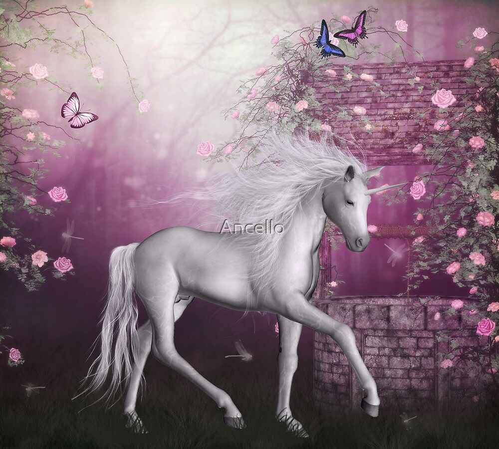 pink unicorn in a roses garden by Ancello