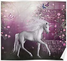 pink unicorn in a roses garden Poster