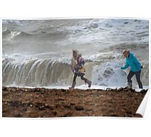 Kids On The Beach At Burton Bradstock-Dorset UK Poster