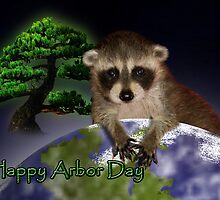 Happy Arbor Day Raccoon by jkartlife