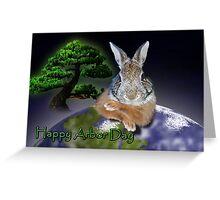 Happy Arbor Day Bunny Rabbit Greeting Card