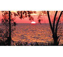 Sun-Half-Set-Over-Aegean-Sea Photographic Print