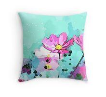 Flowers In Blue - Digital Art Print Throw Pillow