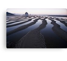 Canals in the Sand at Canon Beach, Oregon Canvas Print