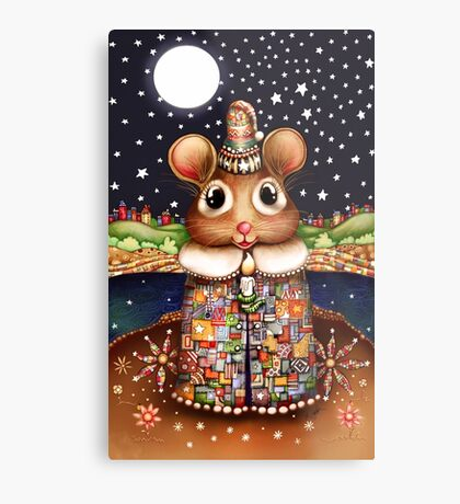 Little Bright Eyes the Radiant Christmas Mouse Metal Print