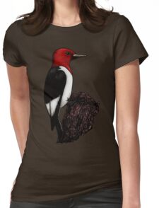 Ruby the Red-Headed Woodpecker Womens Fitted T-Shirt